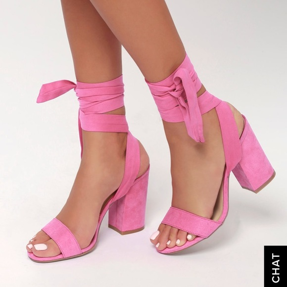 Brand New Pink Tie Up Heels | Poshmark